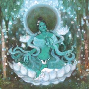 Green Tara by Amitajyoti, acrylic on canvas