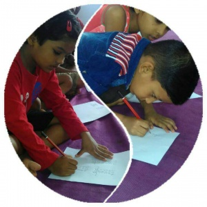 Focused children on their task