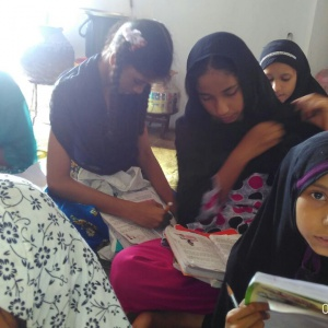 Muslim girls are studing