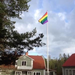 Rainbow flag at Dharmagiri
