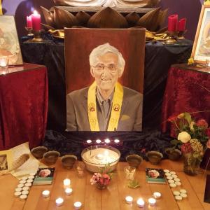 a shrine to Bhante in the Essen Centre