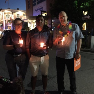 Tanya, Harshal, Mike at Portsmouth vigil