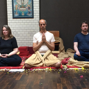The 3 new Mitras during Buddha day at the Berlin Buddhist Centre