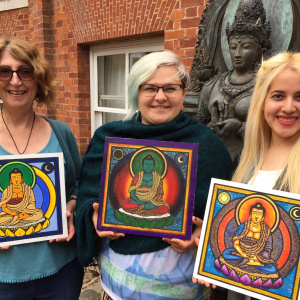 Gleysa, Lizzie and Taravandana with Padmaloka 'Buddha tiles'