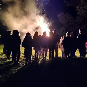 Scenes from the bonfire during the ritual on Saturday night