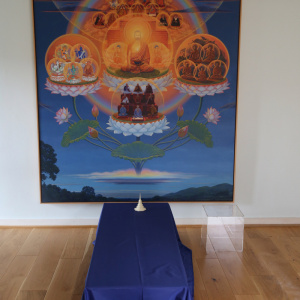 The Amitabha Shrine room - where there had been a vigil for visitors to come and sit with Sangharakshita's body - just before the beginning of the funeral