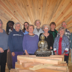 The first post-ordination retreat for newly ordained women in US and Canada: (left to right) Amala, Vimalasara, Karunadevi and Padmatara (all preceptors), Muditalila (San Antonio, TX), Saddhavasini (Aryaloka, NH), Medhahshri (San Francisco), Viriyasati (Vancouver), Kamalasiri (Aryaloka, NH), Amaradhi (Seattle, WA) and Shraddhadharma (Hawaii). Not pictured and on the retreat was Acalavajri (Akashavana).