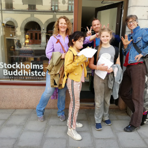 Oslo Sangha outside the Stockholm Buddhist centre
