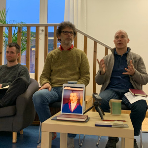 Matt Drage, Silavadin and Dhivan speaking at the Exploring Buddhist Modernism symposium in January 2020