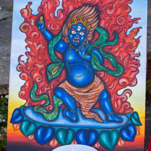 This painting of Vajrapani by Gleysa was auctioned off to help support her as she returns to Venezuela after attending the Dharma Life course at Adhisthana. Photo: Jeremy Peters