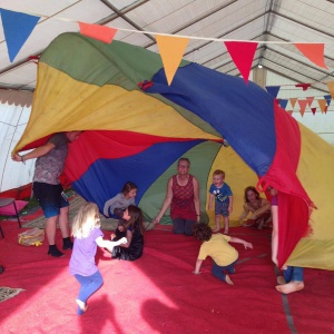 parachute games in the children's tent