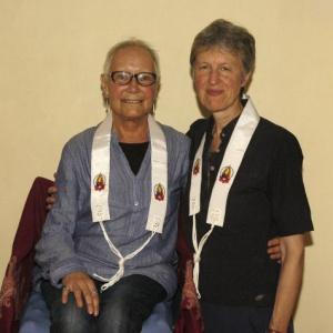 Dayavandana (L) with her Public Preceptor Sanghadevi