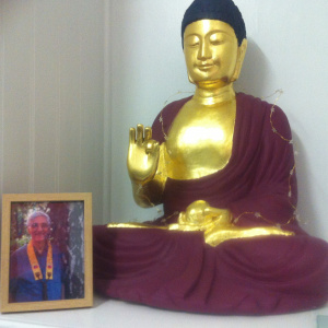 Bhante and golden Buddha