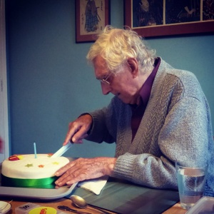 Bhante cuts one of his 89th birthday cakes