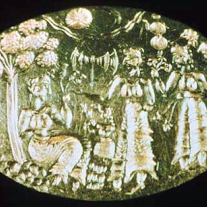 A seal showing a tree shrine from ancient Minoa