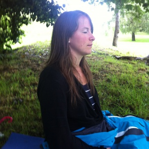 Lucy meditating on Brandon Hill in the morning of the full moon day