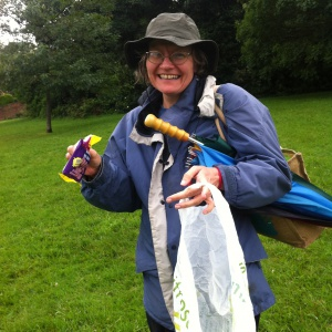 Satyalila picking litter on Brandon Hill on the morning of the full moon day