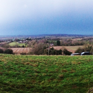 Coddington village panorama, Adhisthana to the right