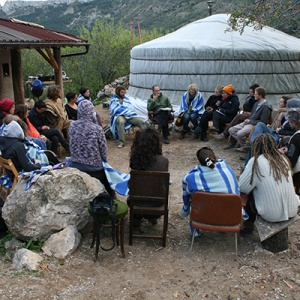Morning circle at Ecodharma Centre
