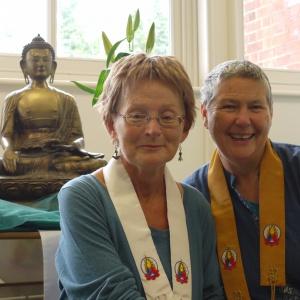 Mokshapushpa (left) with her Public Preceptor Parami