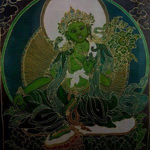 Green Tara - Image by SilkPaintings