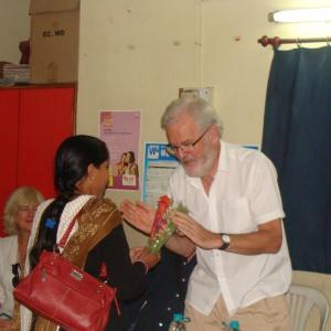 Sujata Shende, the coordinator welcoming Shantipal, trustee of Karuna