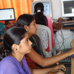 young girl from Bihar learning IT skills.