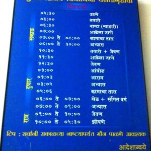 Timetable at the Women's Development Centre, Nagpur