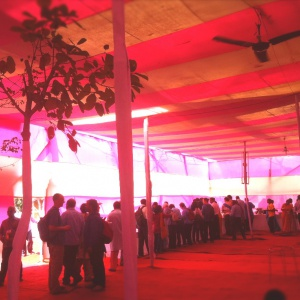 Inside the big pink (dining tent)!