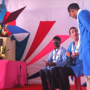Paramabandhu and Manjusiha before the talks