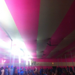 the pink stripy tent!