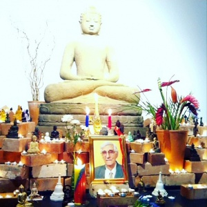 Buddhas from around the world adorned Adhisthana's dedication shrine in August 2013