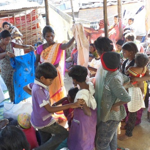 Clothes distributed for use to children and mothers