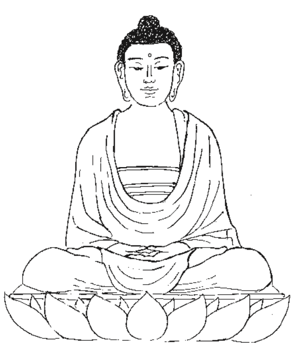 line drawing of the Buddha