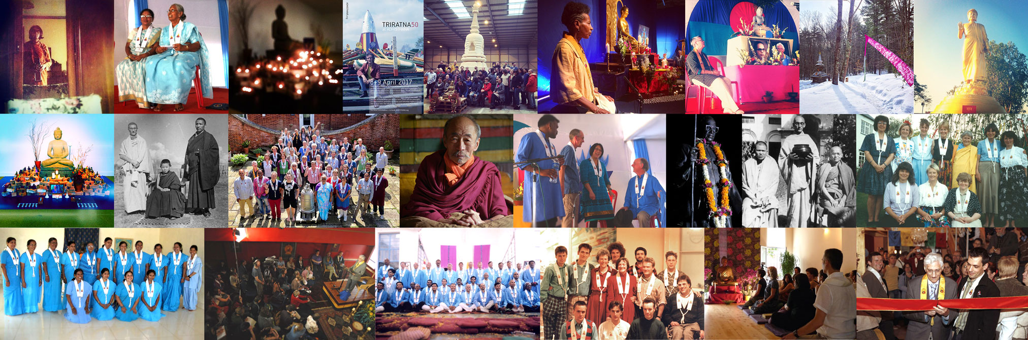 A collage of images from 50 years of Triratna